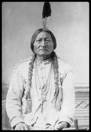 """Sitting Bull, killed by his own pistol"". As Bull Head went down after being shot, he fired into Sitting Bull's side. Red Tomahawk was directly behind the group and carried a small revolver that he had taken from the Chief. With this revolver he shot Sitting Bull in the head. ""The relatives of the policemen killed during the failed arrest attempt had beaten Sitting Bull's body virtually unrecognizable."" (Sitting Bull - His Life and Legacy, 2009). by samanthasam"