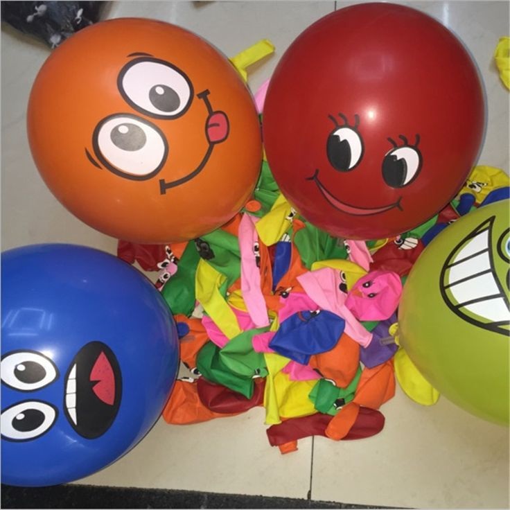 2017 20pcs Random Mixed Balloon Printed Big Eyes Smiley Air Balloon Birthday Party Decoration Ballons Inflatable Latex Balls