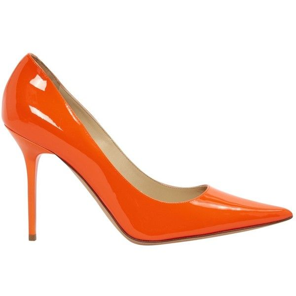 Pre-owned Jimmy Choo Patent Leather Heels ($370) ❤ liked on Polyvore featuring shoes, pumps, orange, women shoes heels, stiletto pumps, patent leather pointy toe pumps, pointed toe stilettos, orange patent leather pumps and orange pumps