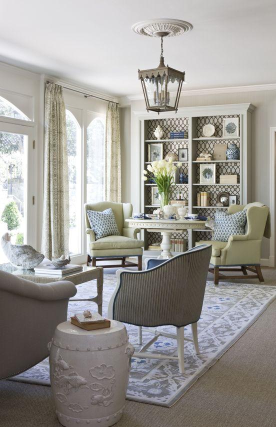 lantern, bookshelves, seating arrangement: Bookcase, Interior, Living Rooms, Idea, Livingroom, House, Family Room, Sitting Room, Design