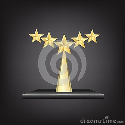 5 Stars Gold Trophy Award on black metallic stand isolated on black background. Gold five star rating with five golden stars representing an award of excellence and luxury as a symbol and concept of competition success and best quality with place to engrave or write the name or prize.