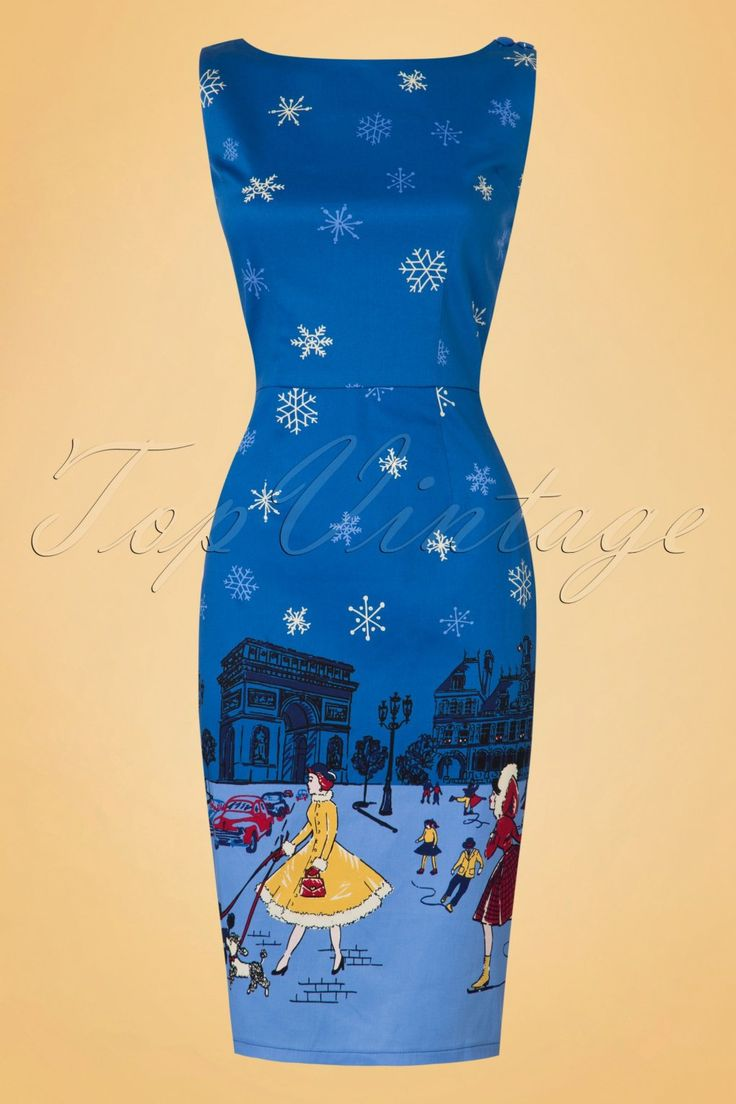 1950s Inspired Dresses, Pinup Dresses 50s Romance Lives Pencil Dress in Blue £43.02 AT vintagedancer.com