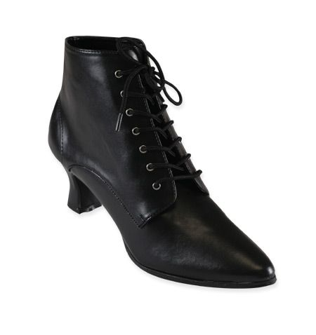 Victorian Ankle Boot - Black Faux Leather:Perfect for Cavalcadium OC Dr. Prudence Gillyflower for Youmacon