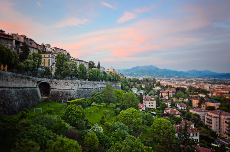 Bergamo.  This is the Citta Alta. I traveled here this spring. A very beautiful place. I would love to go back and stay longer.