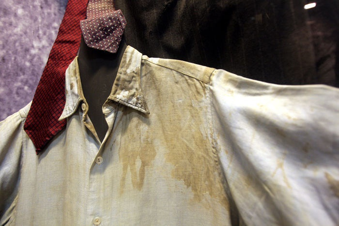 Bloody shirt of Jan Kubiš, in which he died of severe injuries. Military museum in Prague.