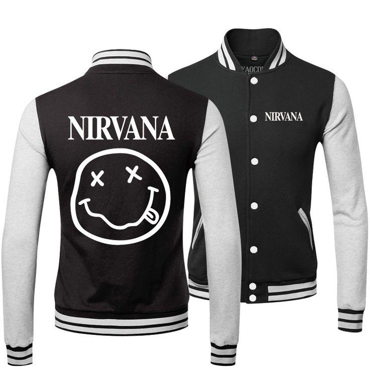 Новый 2015 зима спортивной мода одежда мужская верхняя одежда и пальто тонкий опрятный стиль печать нирвана рок-группа бейсбол куртка мужчины