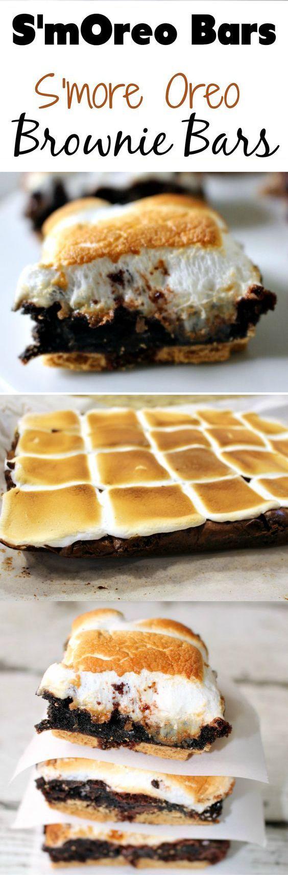 S'more Oreo Brownie Bar Dessert Recipes - dessert, food, recipes