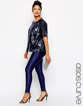 Enlarge ASOS CURVE Legging With High Waist In Shimmer Disco