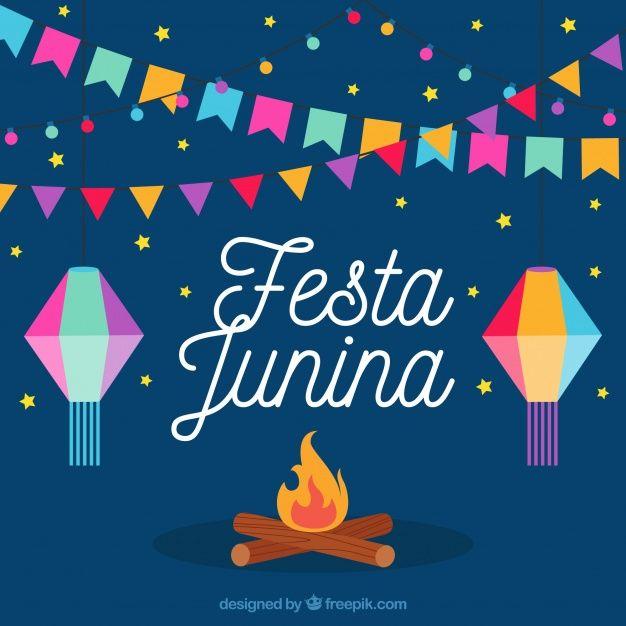 Fundo da fogueira com decoração colorida do partido junina Vetor grátis