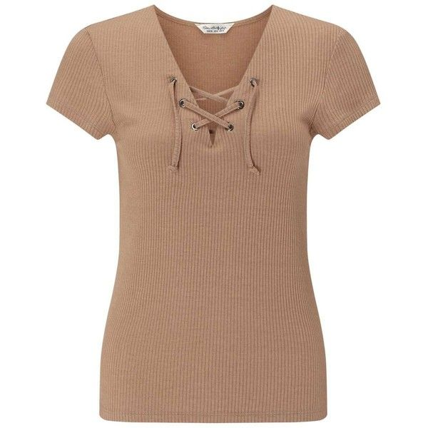 Miss Selfridge Camel Shortsleeve Lace Up Top ($28) ❤ liked on Polyvore featuring tops, camel, ribbed top, laced up top, cap sleeve top, camel top and beige top