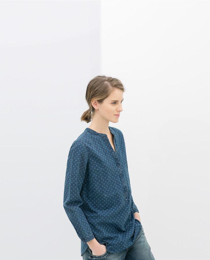 Image 2 of PRINTED SHIRT WITH MANDARIN COLLAR from Zara