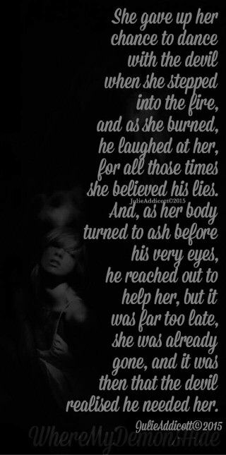 She Gave Up On You Quotes: She Gave Up Her Chance To Dance With The Devil