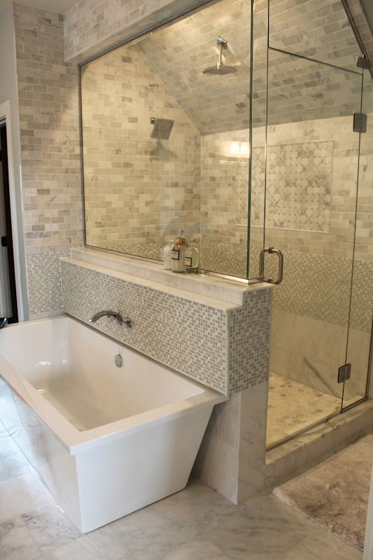 Great layout idea for new master bath - lg shower at furthest end, then tub with sink, etc.