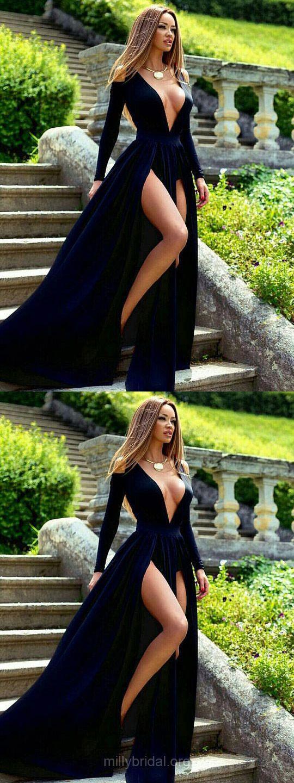 Dark Navy Prom Dresses Long, Sexy Prom Dresses 2018, Long Sleeve Formal Party Dresses A-line, V-neck Evening Pageant Dresses Velvet Split Front Modest #promdresseslong