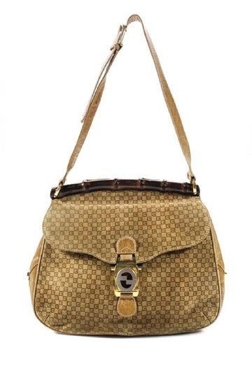 f8cb317084f6 ... Brown Small Square G Logo Print Embossed Suede and Leather Shoulder  Bag. Gucci Mint Vintage Early Style Rare Bamboo Top Shoulder Bag