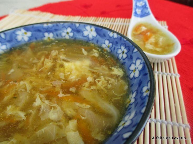 Sopa china de col y zanahoria