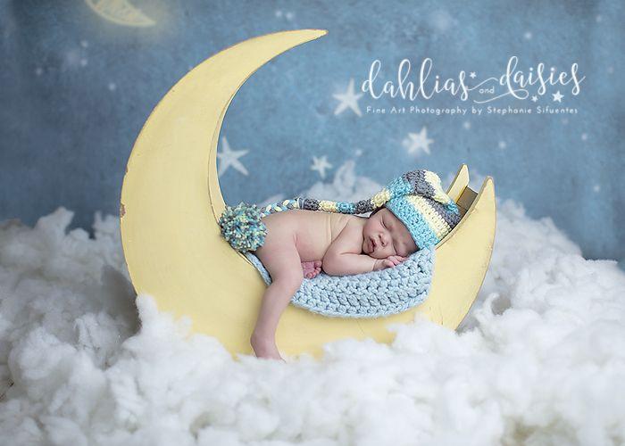 Dallas Newborn Photographer, moon, night stars, newborn boy