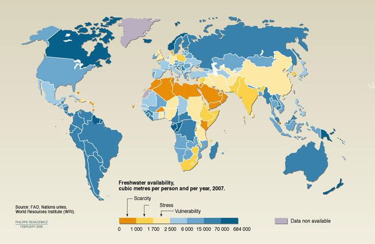 Map: Freshwater availability, cubic metres per person and per year 2007