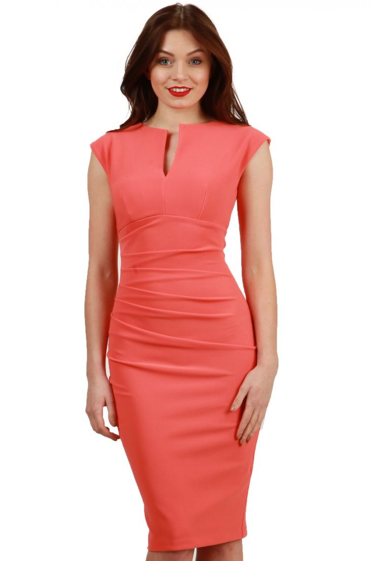 Gorgeous Coral body con dress with slight capped sleeve! this colour is perfect for spring and the neck line is very flattering! we <3 #diva #spring #coral #'summer #love #bodycon