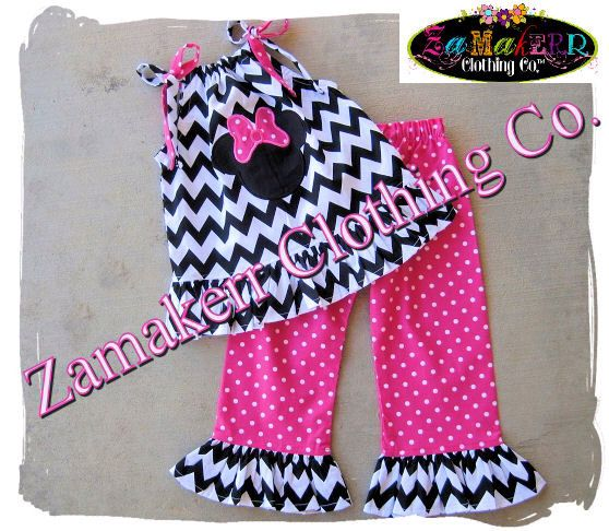 Girl Minnie Mouse Clothing Black Chevron Outfit Pant Set Halter Capri Short Birthday Baby Gift Size 6 9 12 18 24 month 2T 3T 4T 5T 6 7 8 by ZamakerrClothingCo on Etsy https://www.etsy.com/listing/167867056/girl-minnie-mouse-clothing-black-chevron