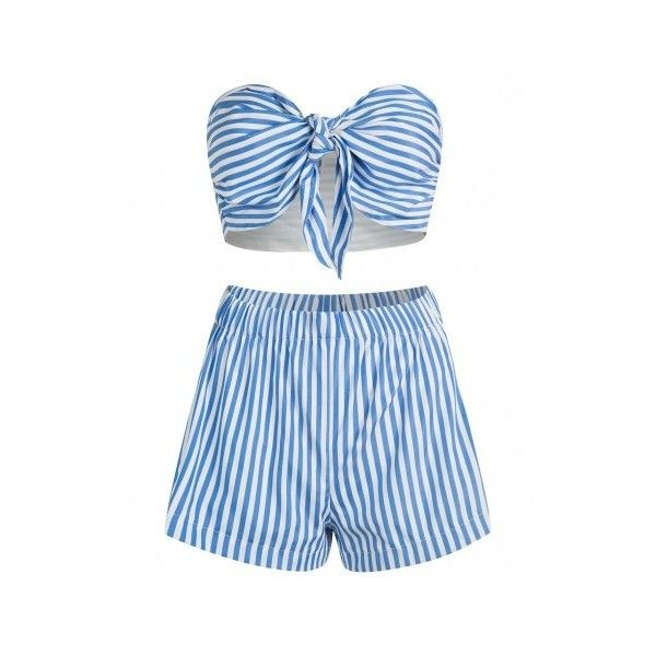 Blue Stripe Knot Bow Bandeau Crop Top and Shorts ($29) ❤ liked on Polyvore featuring shorts, blue shorts, blue striped shorts, striped shorts, cropped shorts and woven shorts