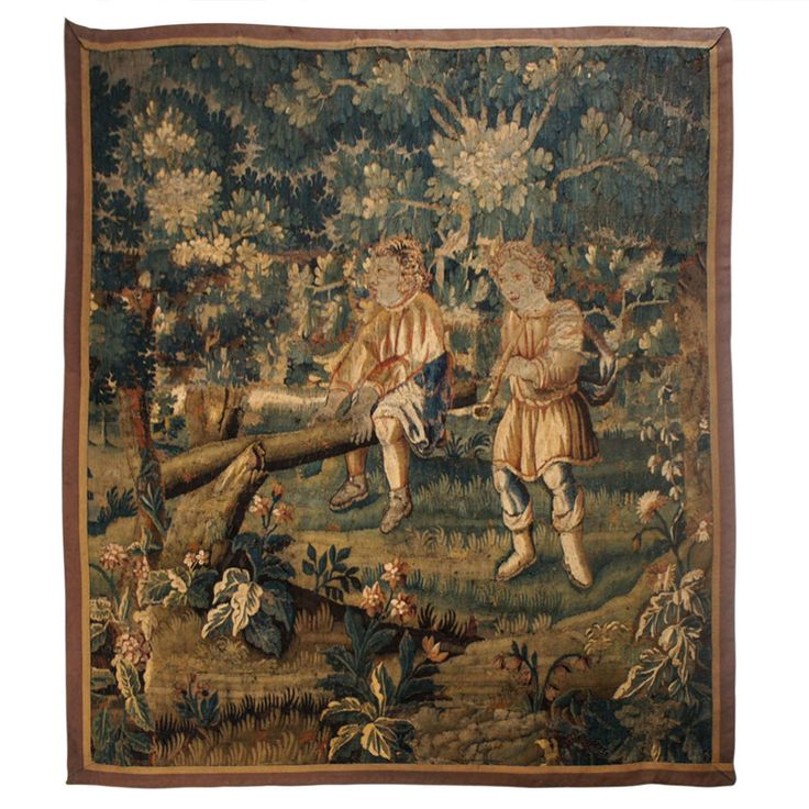 Rare Subject Flemish Verdure Wall Tapestry, circa 1640 7800 HEIGHT: 6 ft. 6 in. (198 cm) WIDTH: 5 ft. 10 in. (178 cm) | From a unique collection of antique and modern tapestries at http://www.1stdibs.com/furniture/wall-decorations/tapestry/