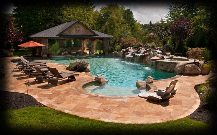 Tanning ledge with seats poolside pinterest pool houses laser toner and swimming - Swimming pool landscape design ideas ...
