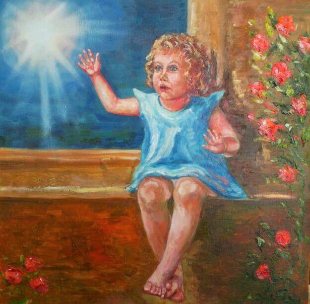 Meeting the Angel, oil painting Встреча с шестикрылым серафимом, масло, холст 40*40 см, 2016 г. В продаже
