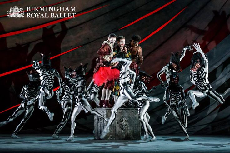 Valentin Olovyannikov as Stephano, James Barton as Trinculo and Tyrone Singleton as Caliban, with Artists of Birmingham Royal Ballet as Hunting Hounds
