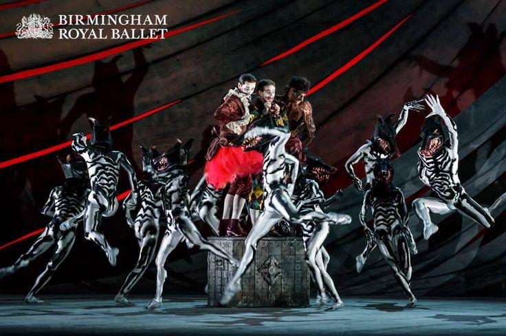 Valentin Olovyannikov as Stephano, James Barton as Trinculo and Tyrone Singleton as Caliban, with Artists of Birmingham Royal Ballet as Hunting Hounds
