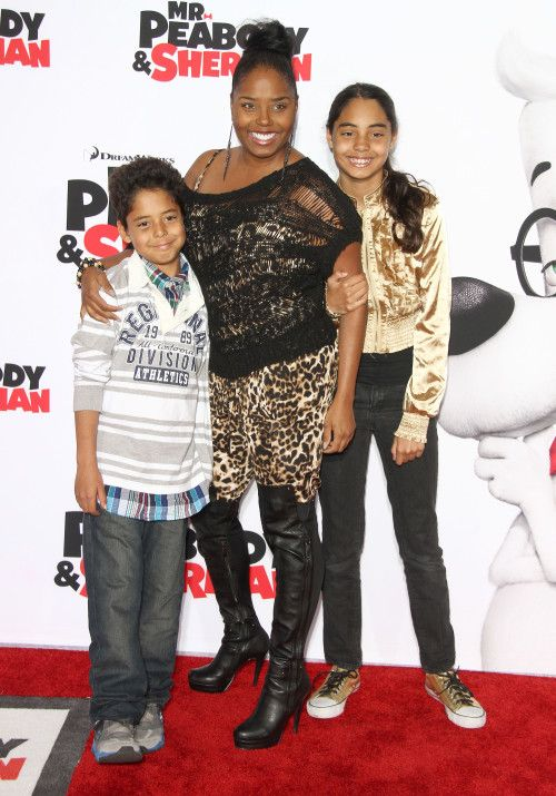 Shar Jackson takes her kids Kori and Kaleb to the premiere of Mr. Peabody and Sherman on March 5, 2014