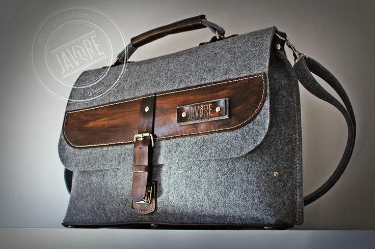 Duża torba na laptopa UNISEX - filc i skóra - Javore - Torby na ramię