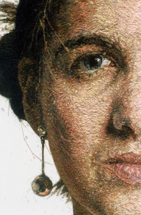 AMAZING embroidery art by Cayce Zavaglia.  The portrait is hand stitched; the background is painted.