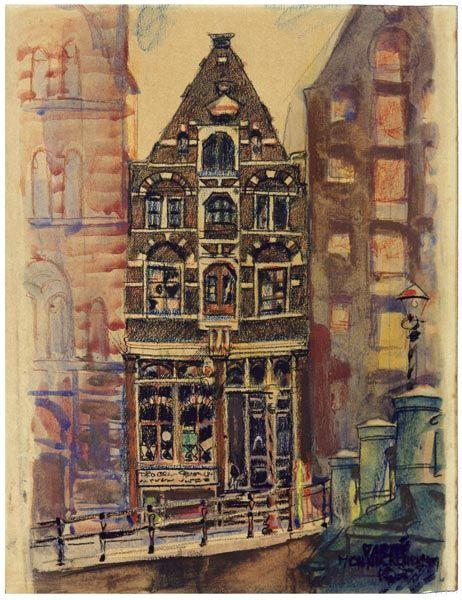 Gezicht op de Oude Schans Amsterdam, 1931, aquarel - pastel, Martin Monnickendam