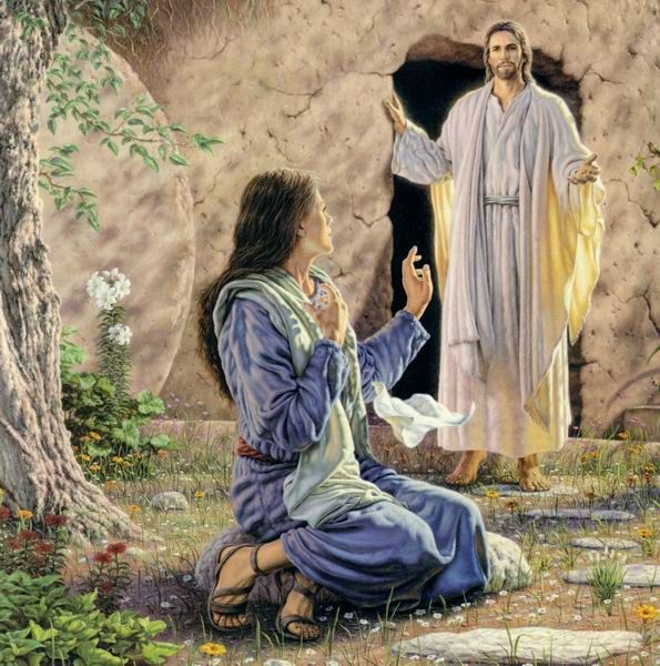 "Jesus  & Mary at the tomb-""tell me where thay have taken my Lord"""