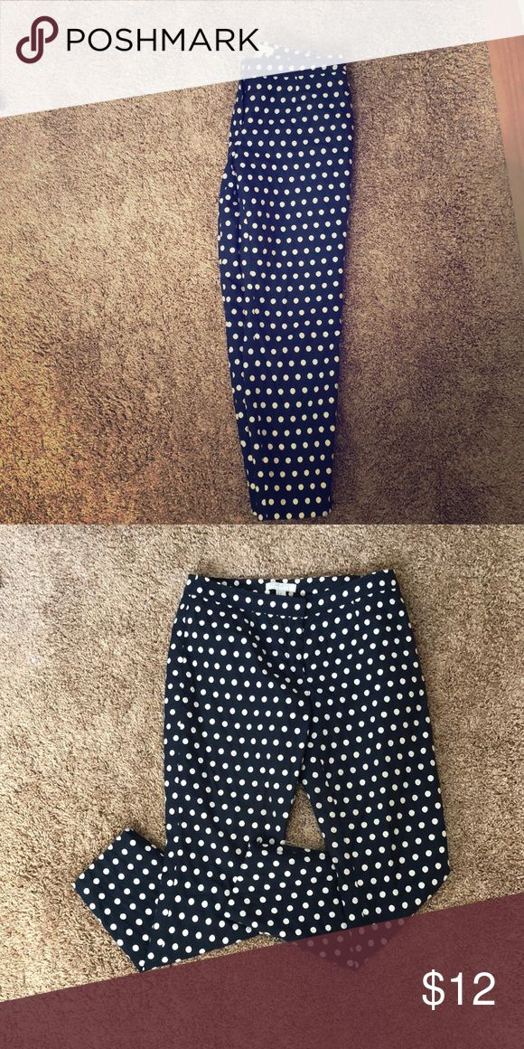 COMFY WORK/ DRESS PANTS - Forever 21!! Used forever 21 work pants with a fun polka dot print! Navy blue with off white polka dots. Forever 21 Pants Trousers