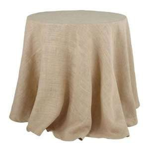 """80"""" Round 10oz Natural Burlap Fabric Tablecloth. Serged on all sides. Be advised that the diameter of the tablecloth is 80"""". Our 80"""" burlap tablecloth comes with a seam across the fabric as burlap is not manufactured wider than 72"""" in length. Handcrafted in the USA."""