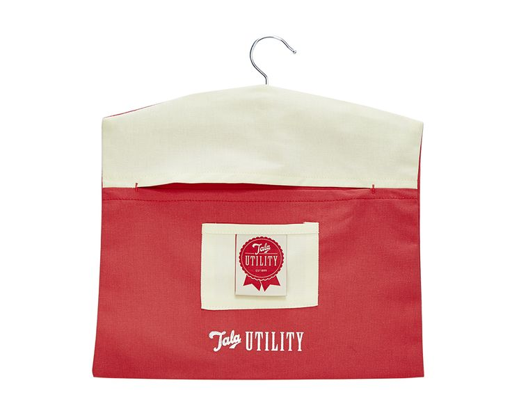 Tala Utility Peg Bag  Made from 100% quality cotton. Features a sturdy wooden hanger and front pocket so that you could separate pegs from delicate items.