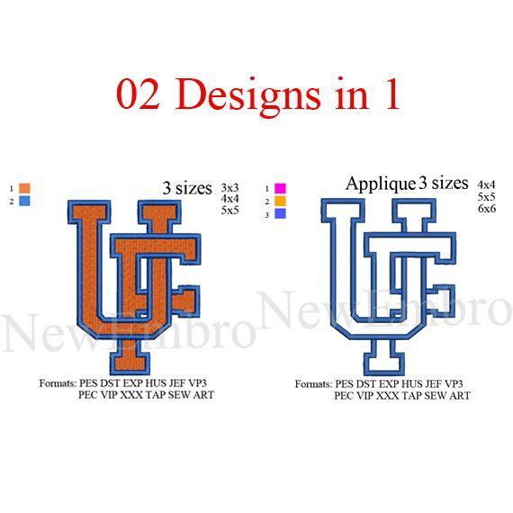 University of Florida UF logo 2 designs in 1 applique + fill stitch, embroidery…