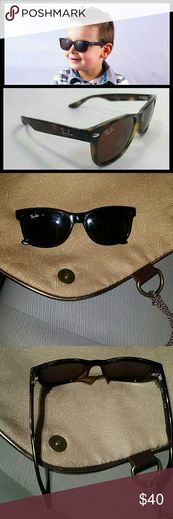 Ray Ban jr - wayfarer Ray-Ban Wayfarer Tortoise RJ9052S 152/73 47-15 Sunglasses. Lenses are Brown with a sun protection factor of 3 for a clear vision even with a bright sunlight. It is a Junior sized, Wayfarer frame shaped made of Acetate for a wonderful style. Fan of the Elegant style? These Ray-Ban Sunglasses are the perfect accessory. Kids can wear the Ray-Ban Wayfarer RJ9052S because the design was especially created to fit them.  Used, in good condition. Does not include a case. Will…