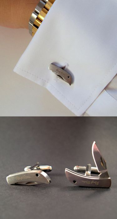 swiss army knife cufflinks / never leave home without it    (not sure where image is from but sold from shop.coolmaterial.com)