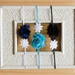 Mini Camellia Navy/White Turquoise & Black Flower Vintage Doily Headband - by 16feathers on madeit