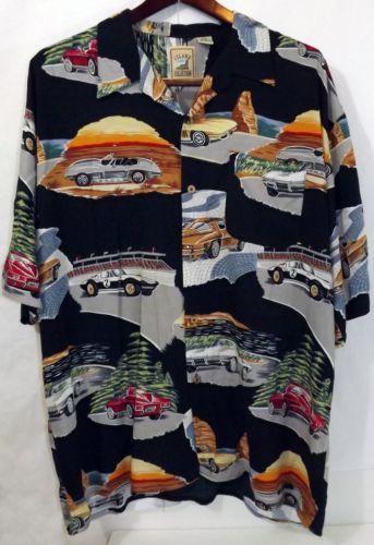 Ln Men S Island Collection L Black Rayon Clic Corvettes Ss Hawaiian Shirt