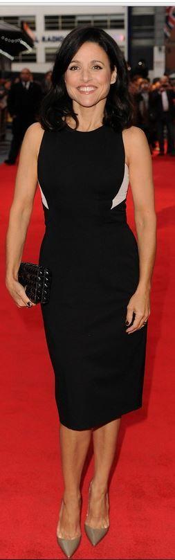 Julia Louis-Dreyfus: Dress – Schumacher  Shoes – Christian Louboutin  Jewelry – Lorraine Schwartz