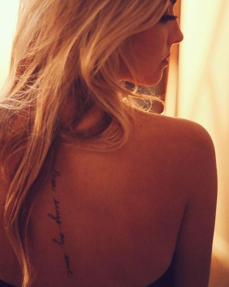 "@danadebano  spine tattoo ""then sings my soul"" from hymn ""How Great Thou Art""    #spinetattoo #tattoo #spine #feminine #femininetattoo #daintytattoo #girl #femaletattoo #backtattoo #blonde #backless #sexytattoo #girlytattoo #christian #lyric #hymn #thensingsmysoul #howgreatthouart #handwritten #font #script"