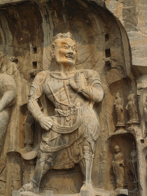 Longmen Grottoes, LuoYang, China. The grottoes were excavated and carved with Buddhist subjects over the period from 493 AD to 1127 AD, in four phases.