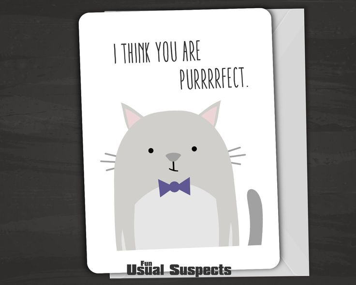 "Outside reads ""I think you are purrrrfect."" Inside reads ""I hope the feeling is mewtual."" Fun Usual Suspects cards are carefully printed on thick, high-quality card stock and have rounded corners for"