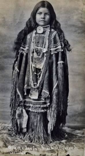 Chiricahua Apache girl in traditional costume. vintage/old photo
