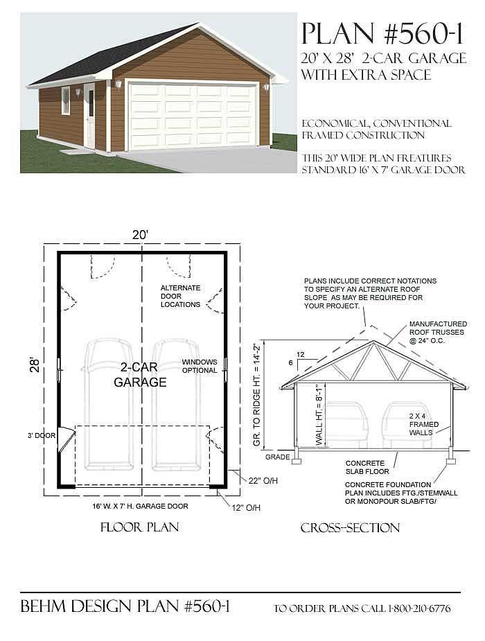 2 Car Attic Garage Plan With Shop In Back 864 5 24 X 36 2 Car Garage Plans Garage Plan Garage Plans