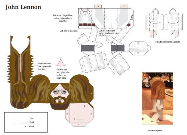Blog Paper Toy papertoys Beatles John Lenon template preview Papertoys The Beatles by Gary Willis (x 4)
